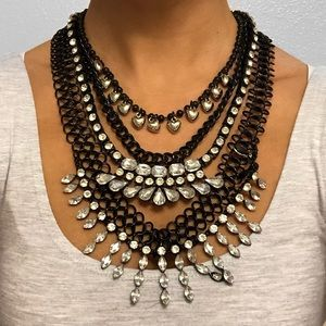 BLACK SILVER MULTI-CHAIN STATEMENT NECKLACE